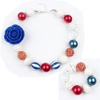 beads for bracelets and necklaces - Children Blue Roses Beads Necklace and Bracelet Jewelry Sets for Kids Jewelry Decoration Dress Accessories Christmas Gift