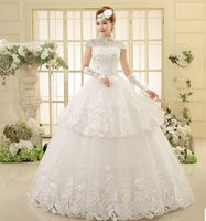 big fat wedding dresses - The big code fat mM significantly thin gauze short sleeved Vintage collar new r fashion wedding bride
