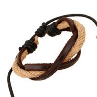 Hot Sale Cuir Hommes Bracelets Classique Fashion Handmade multicouches tissé bracelets Infinity bracelet redimensionnable cadeau de bijoux pas cher