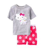 Wholesale Girls Pajamas Set Short Sleeve T Shirts Pants Suits Summer Cotton Top Quality Baby Clothes Cheapest