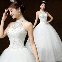 b skirt - 2016 Ball Gown Halter Lace up Floor length Sleeveless Sequins Crystal Decorate Lace Fabric Korean Style Wedding Dresses B