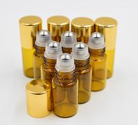 oil bottles - mini ml Amber Glass Roll On glass bottle Essential Oil Perfume Bottle Stainless Steel Roller Ball