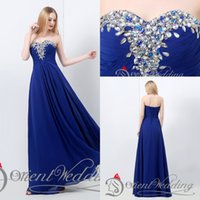Wholesale In Stock Special Occasion Dresses Sweetheart Royal Blue Fashion Floor Length Chiffon Luxury Beaded Formal Evening Prom Dresses Gowns