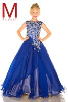 short pageant dresses for girls - Girls Pageant Dresses Cheap Hot Royal Blue Pageant Dress for Kids Custom Crystal Beads Chiffon A Line Party Flowers Girls Gowns BA0144