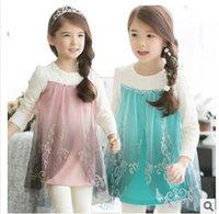 Cheap 2015 spring children's dresses Girls Dresses Frozen long sleeve dress girl party dress anna princess costume baby girls elsa dress