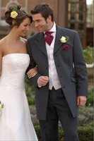 Wholesale Charcoal Suit Silver Tie - Wholesale - CCustom Made Four Button Charcoal Grey Groom Tuxedos Best Man Groomsmen Men Wedding Suits (Jacket+Pants+Tie+Vest)