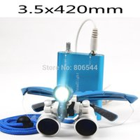 Cheap 2015 Blue Dentist Dental Loupes 3.5x420 Surgical Glasses + Led Head Light Lamp New Hot Sale careshine AAAAA