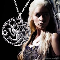 Wholesale 2014 new Flim Jewelry Daenerys Targaryen Dragon Necklace Game of Throne Fire And Blood