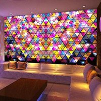 Wholesale A large mural topic space bar KTV wallpaper Qiangbu color TV D seamless background geometry