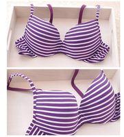 Wholesale Striped Bra Panties Set - Wholesale-New 2015 brand bra & panties set striped seamless push up thin cup lingerie set for women underwear set free shipping