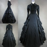 Wholesale Long Sleeves Black Gothic Victorian Style Gown Dress Cosplay Custom Made Victorian Gothic Clothing Black Prom Dresses Real Phots VT