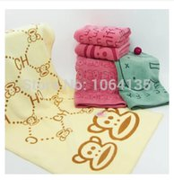 Wholesale bamboo fiber towels baby towel soft cartoon baby bath towel couple cleansing towels thick absorbent