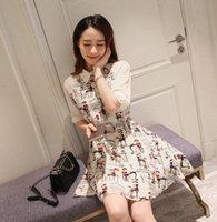 abstract dress - 2016 New Style Spring Women Korean Lapel Abstract Print Chiffon Shirt Sleeve Was Thin Dress Tide