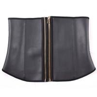 Cheap Wholesale-Women Double Zipper Latex Waist Training Corsets With Full Steel Bone Waist Trainer Slimming Tummy Trimmer Underbust Cincher