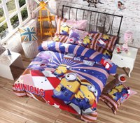 bedding set fabric - New arrival Minions Despicable Me bedroom bedding set cotton fabric king queen twin duvet quilt cover sheet bed in a bag pc textile