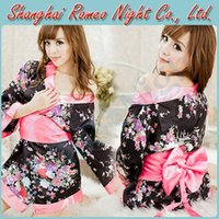 Wholesale Romantic Mystery Floral Lace Kimono Cosplay Costumes with G string Women Sexy Babydolls Lingerie Costumes