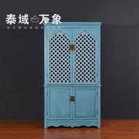 Wholesale Neoclassical wood wardrobe for the old blue painted antique furniture Chinese art four openwork carving