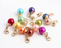 Wholesale 20PCS Mix Colors Round Pearl Charms Beads Dangle Pendant With Lobster Clasp For Floating Locket
