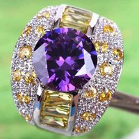 amethyst gemstone jewelry - 2015 A0081 Round Topaz Lady Engagement Jewelry Free Ship AR5 Round Cut Morganite Amethyst Gemstone Silver Ring Size In Stock