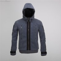 battle dress uniforms - Autumn and Winter Mans Jacket Fashion Battle Dress Uniforms Ghost Sweatshirts Coat Clothing for Male Grey Fleece Hoodies