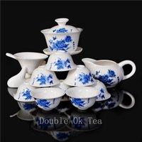 Gros-14pcs Chine Dehua Fleur de Lotus Peintures Céramique Porcelaine gaiwan Kungfu Tea Cup Set Bone China Shipping Service gratuit / En gros