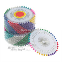Wholesale Hot set set Multi Colour Round Head Faux Pearl Decorating Pin Dressmaking Pin