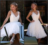 bali wedding - Ivory Knee Length A Line Wedding Dresses KR V Neck Sleeveless Beaded Appliques Lace Romantica Short Bridal Gowns Bali Back Zipper