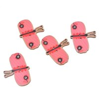 Wholesale Lovely Design Accessories Butterfly Shaped Holes Wooden Buttons Fit DIY Scrapbook Pink x46mm