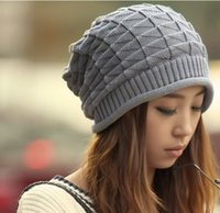 argyle cap - New Autumn Winter Knitting Wool Hat for Women Caps Lady Beanie Knitted Hats Caps Triangle argyle Pattern White Grey Colour CP002