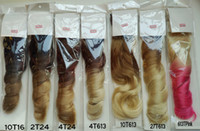 Wholesale Double color Length cm Inch g set Wavy Synthetic Hair Long Curly Clip In Hair Extensions pieces