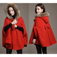 2016 Manteau Nouvelle longue tranchée Mode Hoodies Manteaux Femmes Fur hiver Manteau Col cape de laine de Noël à manches longues Parka Manteaux Manteaux W63