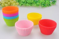 Wholesale 7Color Silicone Baking Model Colorful Non stick Muffin Cup Cake Moulds Non toxic Tasteless Bakeware cupcake case liner