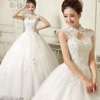 Wholesale Cheap luxury Wedding Dresses Ball Gown High Neck Applique Lace New Custom Made Wedding gowns HJ11215675