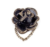 Wholesale New SBY0307 fashion Elegent Black Rose Flower Brooches Pins For Women Party