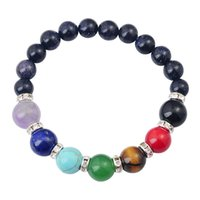 Wholesale Joya Gift SB1037 MM Natural Blue Goldsand Beads bracelet Chakra Gemstone Crystal Healing Reiki women jewelry bangle