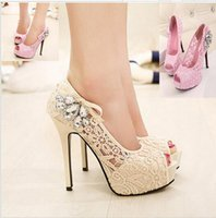 Wholesale Sexy Lace Rhinestone Mesh Hollow Peep Toe High Heels Women Shoes Thin Heel Ladies Fashion Brand Wedding High Heels sandals shoes