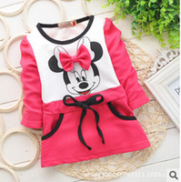 minnie mouse dress - 2014 Autumn girls dress baby girls Minnie Mouse New Kids bottoming shirt long sleeve t shirt years rose red