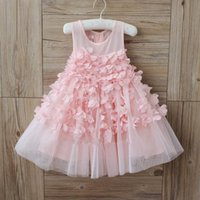 beautiful jumpers - 2016 New baby girl kids Summer beautiful princess dress lace tulle tutu split dress crochet embroidered D flower chiffon vest jumper dress