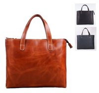 abrasive media - genuine leather tote bag one shoulder anti abrasive crazy horse leather laptop handbag for lady in colors
