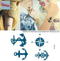 Wholesale Temporary tattoos Waterproof tattoo stickers body art Painting for party event decoration blue compass anchor hook