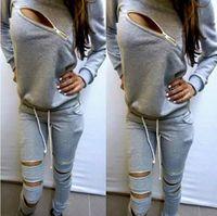 Wholesale 2015 Fashion Zipper Hollow Out Women Tracksuits Sport Suit O Neck Long sleeve Women Hoodies Piece Set Jogging Moletom Feminino