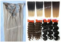 clip in human hair extensions 160g - 14 Clip In Human Hair Extension g Bag Indian Remy Clip On Weft Yaki Wavy Natural Black Piano Highlight Mix Ombre Color