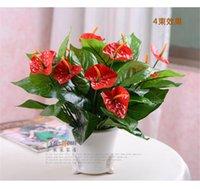 anthurium bouquet - 2015 Wedding Bouquet CM long Artificial Silk Flower Anthurium flowers Bouquet Home Decor wedding Party Decorations