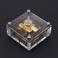 Wholesale Acrylic Cubic Musical Box Exquisite Workmanship Windup Music Box Notes Movement Melody Castle in the Sky Beautiful Patterns