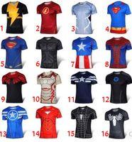 Wholesale Cotton Superhero T Shirts - 16 Design Superhero 3D Short sleeved T-shirt 2016 The Avengers men Jersey shirt sports quick dry fitness compression drying T-shirt B001