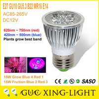 Wholesale E27 GU10 LED Bulb Grow Lamp W Red Blue Red Blue LED Grow Lights Fill light Succulents Flowers Red and blue lights photosynthesis