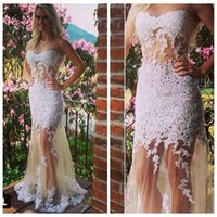 Cheap 2015 Sexy Nude Scoop Mermaid Lace Prom Dress Teen Dress LS07178
