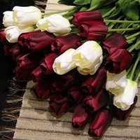 silk tulips - 20pcs colors silk tulip wedding bouquet artificial flowers