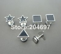 black stainless steel studs - 10pcs New Arrival Stainless Steel Laser Cut Star with Black Enamel Screw Earring Stud Ear Piercing Illusion Cheaters Fake Plug
