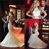 Organza beach sayings - 2016 Glamorous Lace Wedding Dresses Said Mhamad Mermaid with Beads Belt Hollow Back Ivory Court Train Vestido De Novia New Bridal Gowns